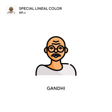 Gandhi Special lineal color icon. Illustration symbol design template for web mobile UI element. Perfect color modern pictogram on editable stroke.