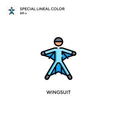 Wingsuit Special lineal color icon. Illustration symbol design template for web mobile UI element. Perfect color modern pictogram on editable stroke.