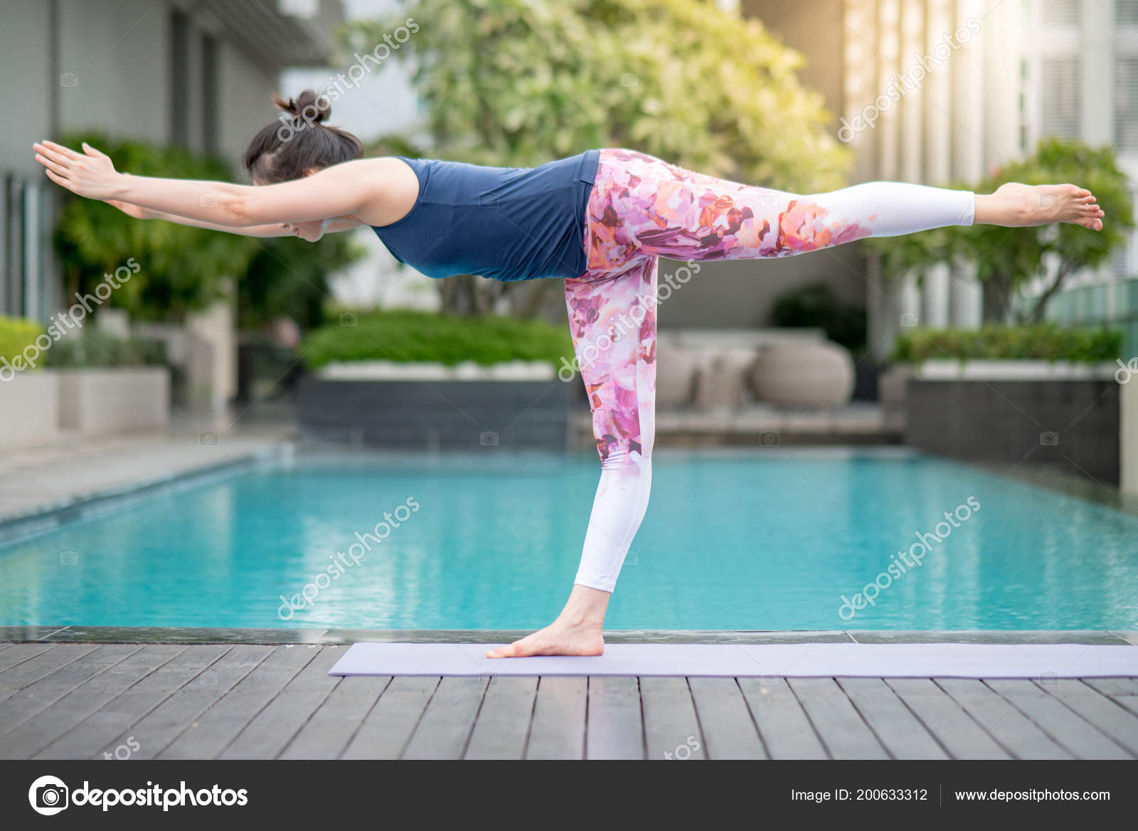 Young Asian Attractive Woman Doing Yoga Exercise Swimming Pool ...