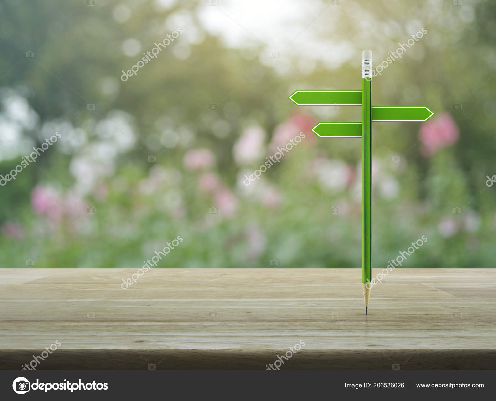 Pencil Blank Sign Plate Wooden Table Blur Pink Flower Tree Stock