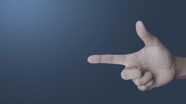 E-Mail flaches Symbol auf dem Finger über dem Lichtverlauf blauer Ton Hintergrund, Business kontaktieren Sie uns Konzept