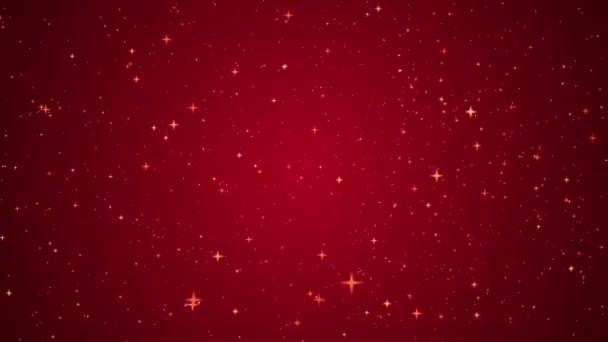 Csillogó-csillagos porszemcsék mozgása piros, ünnepi dekoráció háttér