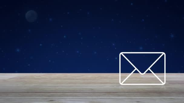 E-Mail flache Symbol auf Holztisch über Fantasie Nachthimmel und Mond, Business kontaktieren Sie uns Online-Konzept