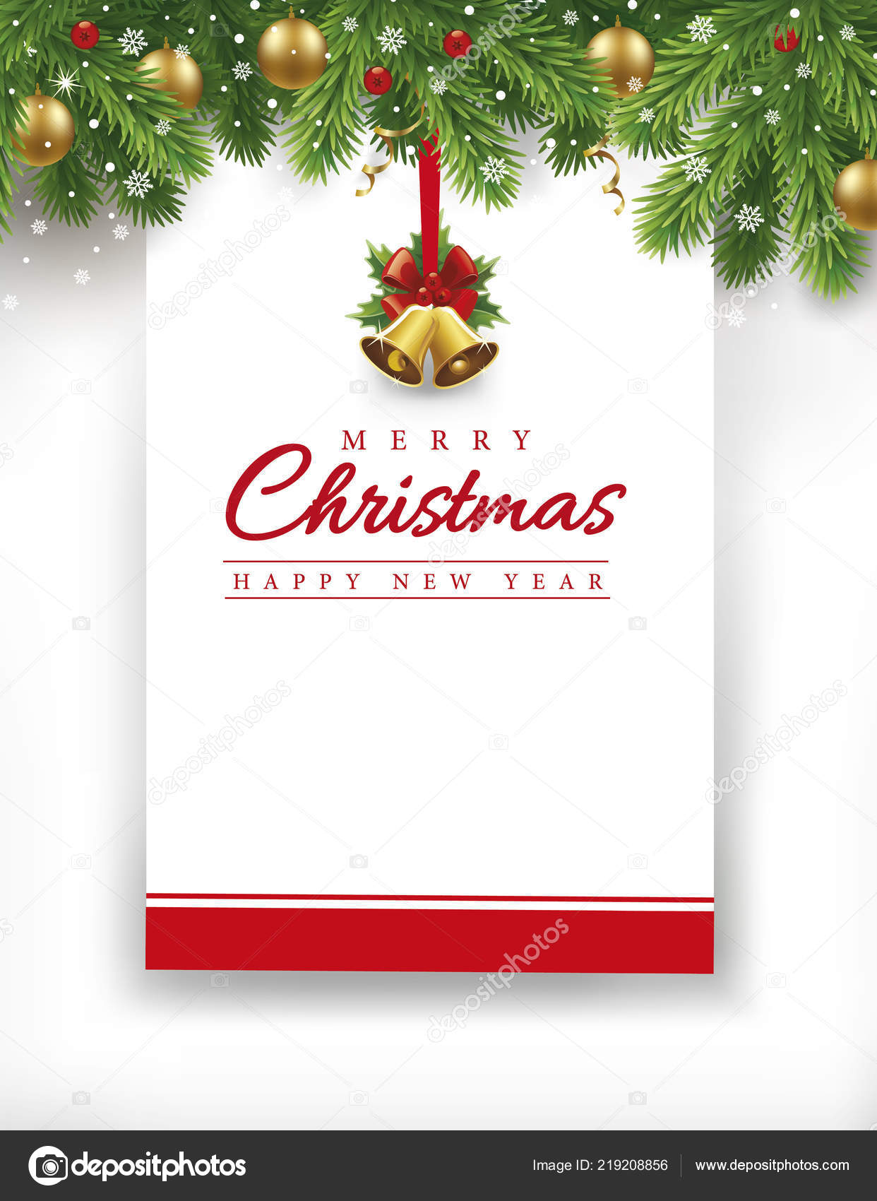 merry christmas new year gift card place your text stock vector