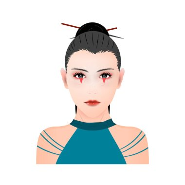 Vector portrait of a Japanese ninja shinobi girl in makeup on a white background icon