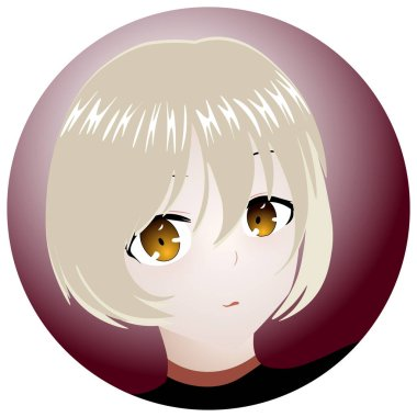 Vector anime characters. Anime girl in japanese. Anime style, drawn vector illustration. icon