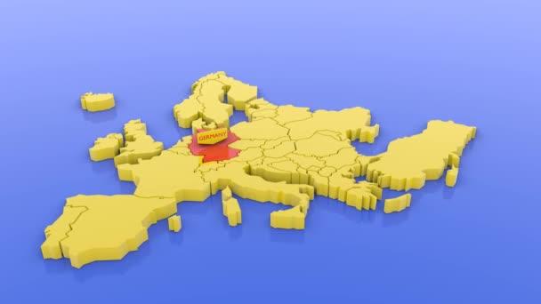 3D vykreslená mapa Evropy ve žluté, na Německo zaostřená červeně s nálepkou. 3D vykreslená ilustrace.