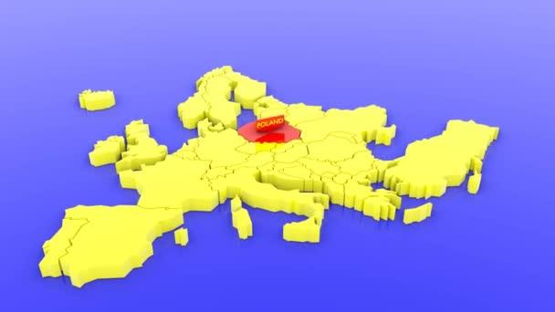 3D vykreslená mapa Evropy žlutě, zaměřená na Polsko červeně s mapou. 3D vykreslená ilustrace.