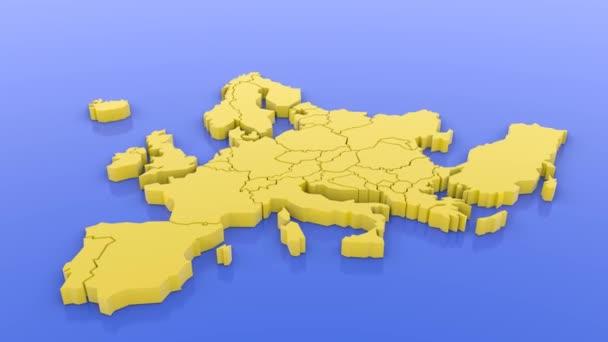 3D vykreslená mapa Evropy. 3D vykreslená ilustrace.