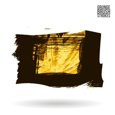 Abstract yellow grunge brush strokes, vector background