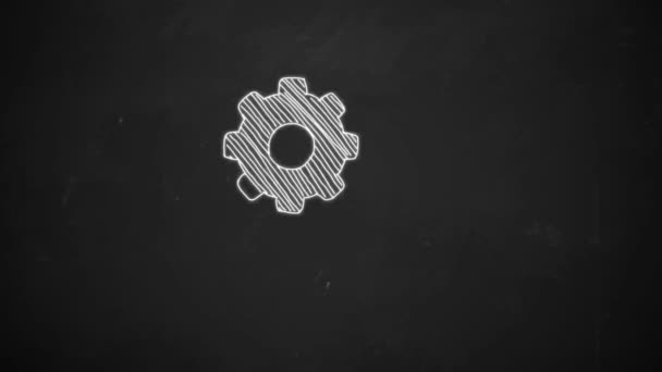 Animation of rotation gears in hand drawing style