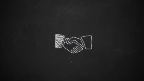 Hand-Zeichnung Strichzeichnungen zeigen schütteln Hände Symbole mit weißer Kreide auf Tafel