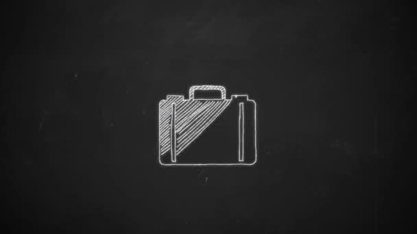 kéz a mutatja a bőröndöt szimbólum fehér krétával táblára rajz vonalas