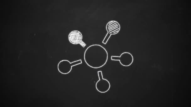 Hand-Zeichnung Strichzeichnungen zeigen Verbindung Netzwerksymbole mit weißer Kreide auf Tafel
