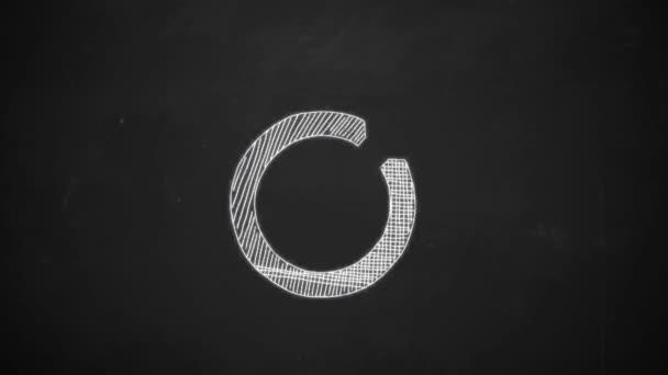 hand drawing line art showing dart symbol with white chalk on blackboard goal