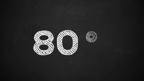 Handzeichnung eines 80-Prozent-Symbols mit weißer Kreide auf der Tafel