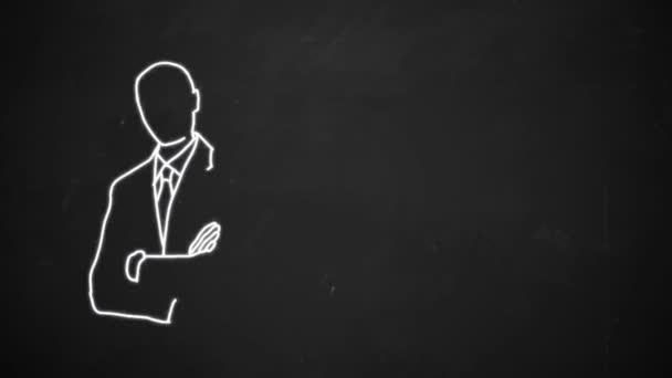 Zeichnung Strichzeichnungen Geschäftsmann mit weißer Kreide auf die Tafel zeigt die Hand