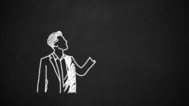 hand drawing line art showing speech bubble symbol with white chalk on blackboard