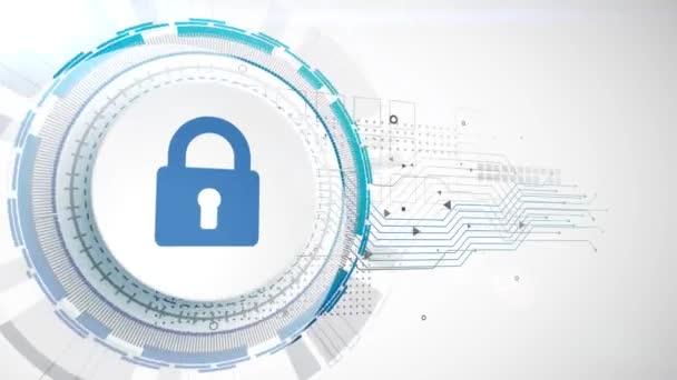 Visací zámek bezpečnostní ikonu animace bílé digitální prvky technologické zázemí