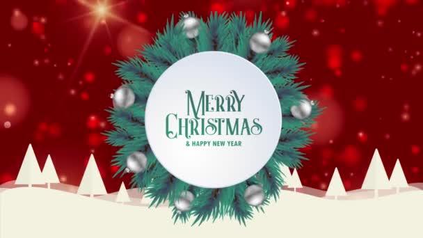 Frohe Weihnachten Grusskarte Animation rot Bokeh Hintergrund Bäume ...