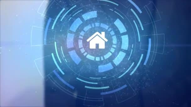 ikona domů dům projekce hologram obchodní muž ruky hud