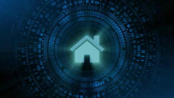 business man hand hologram hud projection home house icon