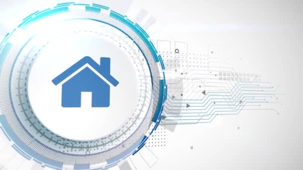 home house con animation white digital elements technology background