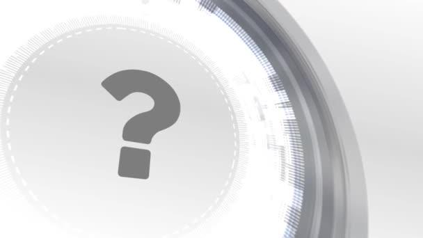 otazník se faq ikonu animace bílé digitální prvky technologické zázemí