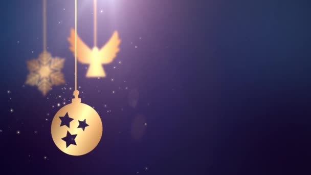 Animovaný pohybující cetka míč padající vánoční novoroční slavnostní sezónní Slavnost zástupný symbol modré pozadí