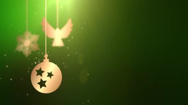 Animált mozgó csecsebecse labdát karácsonyi újévi ünnepi szezonális ünneplés helyőrző zöld háttér zuhan