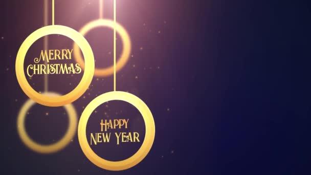 goldene bewegte Kugelkugel fallen frohe Weihnachten frohes neues Jahr festlich saisonale Feier Platzhalter blauer Hintergrund