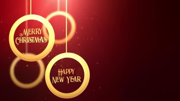 Zlaté pohybující cetka míč padající Veselé Vánoce šťastný nový rok slavnostní sezónní Slavnost zástupný symbol červené pozadí