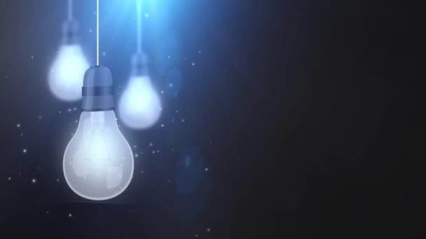 zářící žárovku žárovky pádu dolů visící na černém pozadí