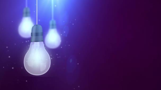 zářící žárovku žárovky pádu dolů visící na fialové pozadí