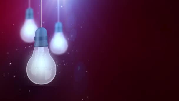 zářící žárovku žárovky pádu dolů visící na červené pozadí