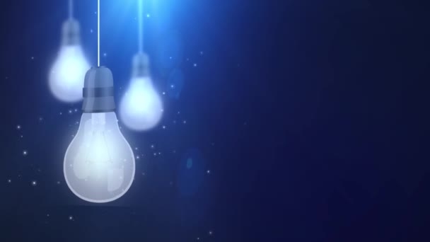 zářící žárovku žárovky pádu dolů visící na modrém pozadí