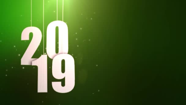 Happy New Year 2019 white paper numbers hanging on strings falling down green background