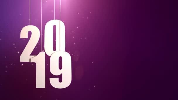 Boldog új évet 2019 fehér könyv számok lóg a húrok zuhan lila háttér