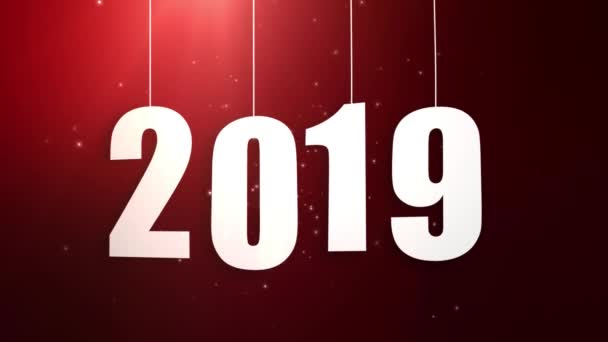 Happy New Year 2019 white paper numbers hanging on strings falling down red background
