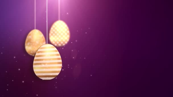 Happy Easter Golden Hanging Easter eggs animated with purple background.
