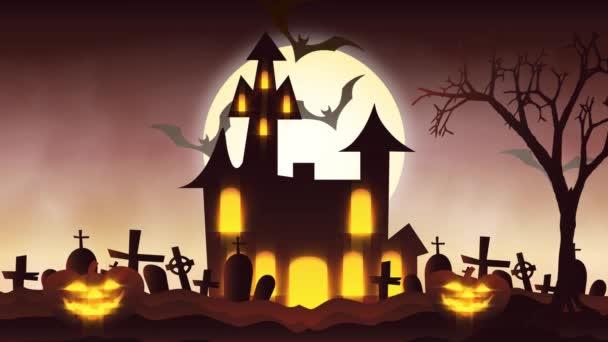 animáció, Jack-o-lámpa Halloween pumpkins egy kísérteties kísértetjárta ház