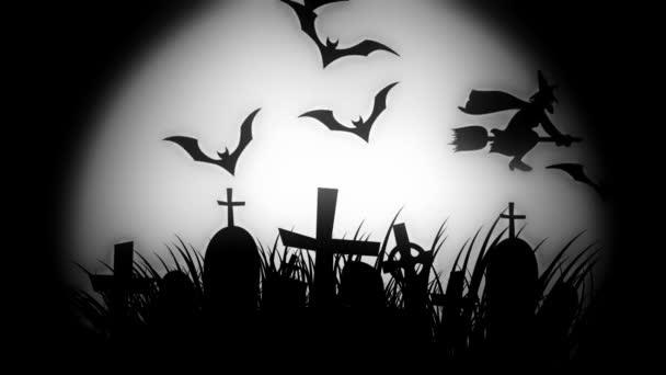 animáció a kísérteties temető repülő denevérek halloween