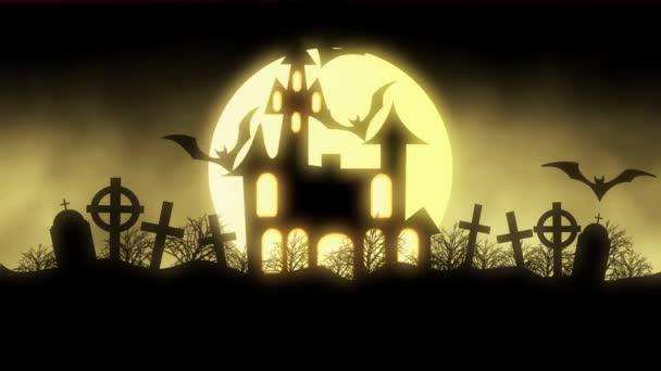 animáció a repülő denevérek Halloween kísérteties kísértetjárta ház