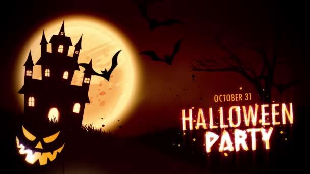 Halloween Party meghívó animáció egy Jack-o-lámpa Halloween pumpkins kísérteties kísértetjárta ház