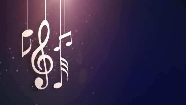 Hudba poznámky tekoucí visí na řetězce a padající ze stropu animace