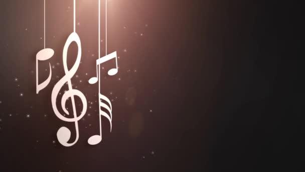 Zene jegyzetek áramló lóg a húrok és a mennyezet animáció alá