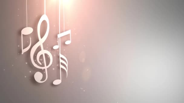 Music notes flowing hanging on strings and falling from the ceiling animation