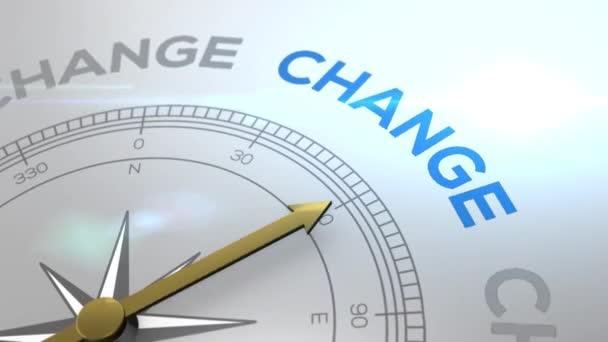 Kompass mit dem Text ändern Sie den richtigen Weg, Konzeptvideo für gute Richtung weißen glänzenden Hintergrund