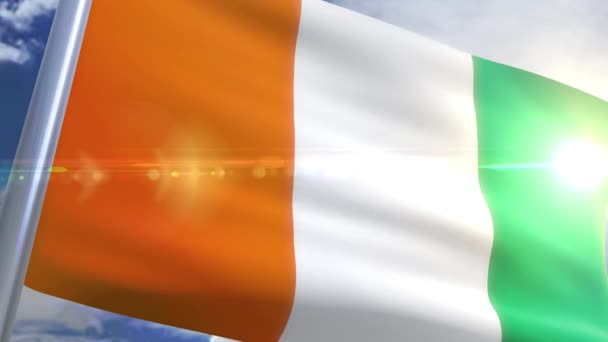 animation of the flag of Ivory Coast in 4 different camera angles and 4 different backgrounds