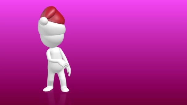 3D-s emberi jellem, mutasson az üres helyőrzőbe karácsonyi kalapban